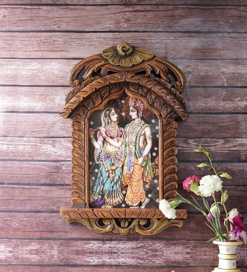Brown Wooden Radha Krishna Playing Flute Jharokha Gift by Little India