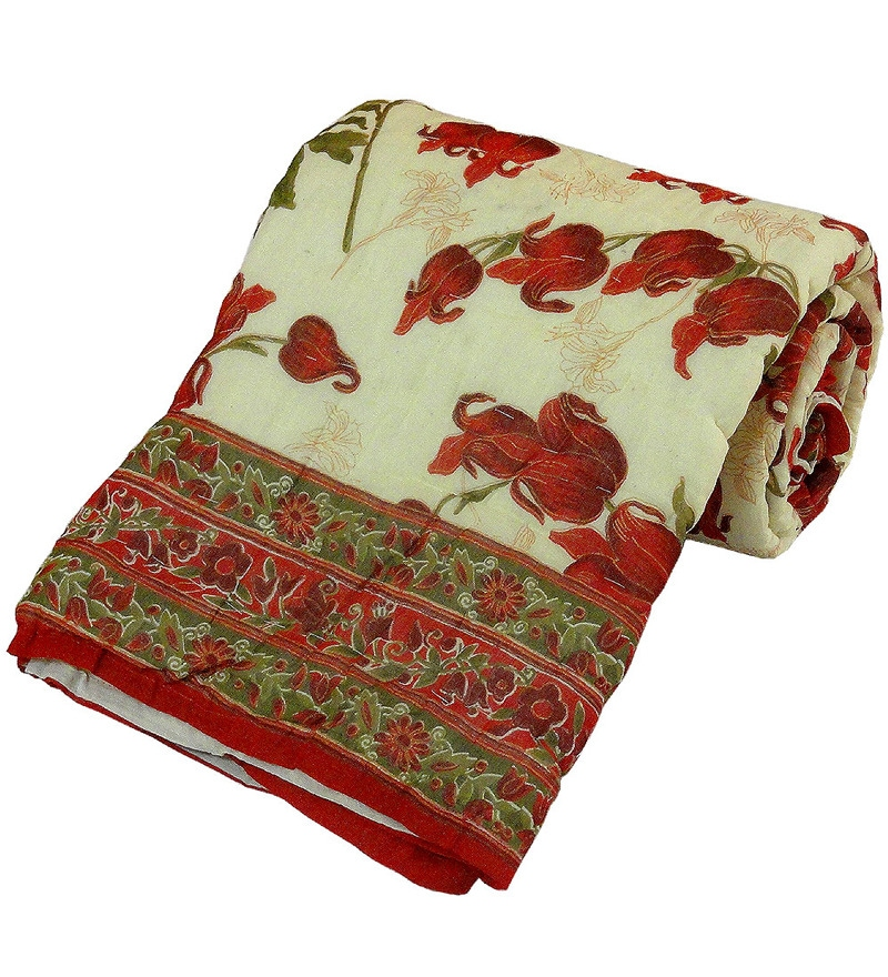 Red & White Nature & Florals Cotton Single Size Quilt 1 Pc by Little India