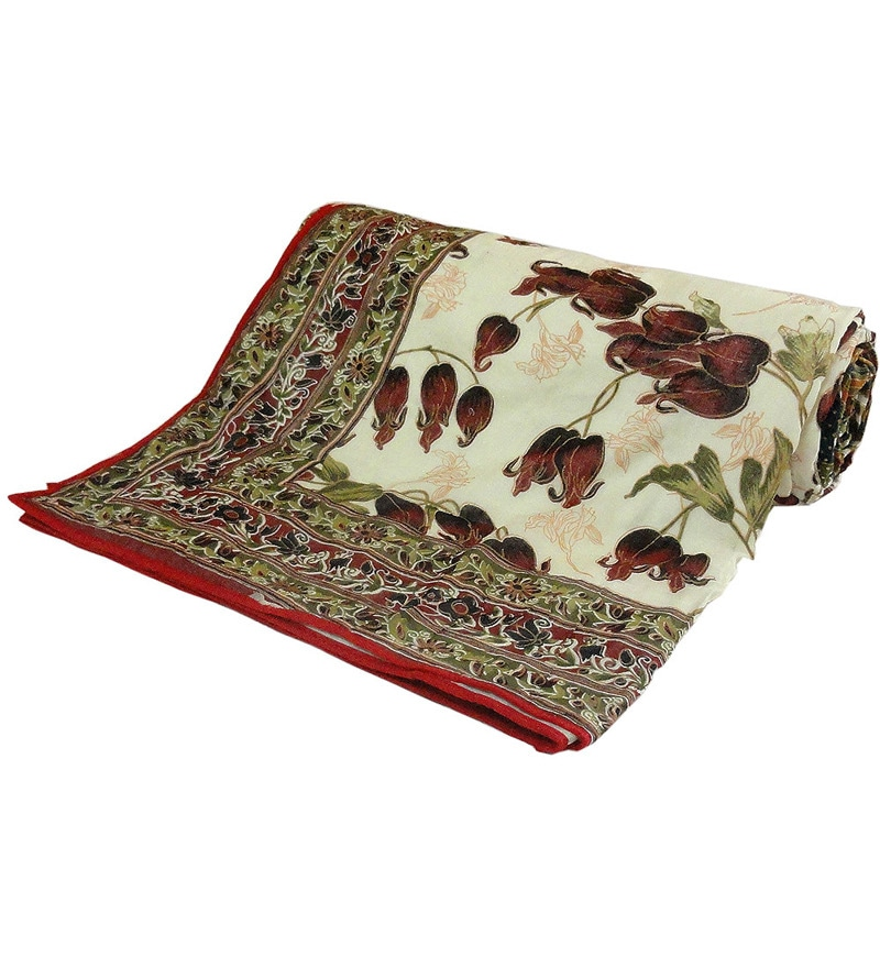 Multicolour Nature & Florals Cotton Queen Size Dohar 1 Pc by Little India