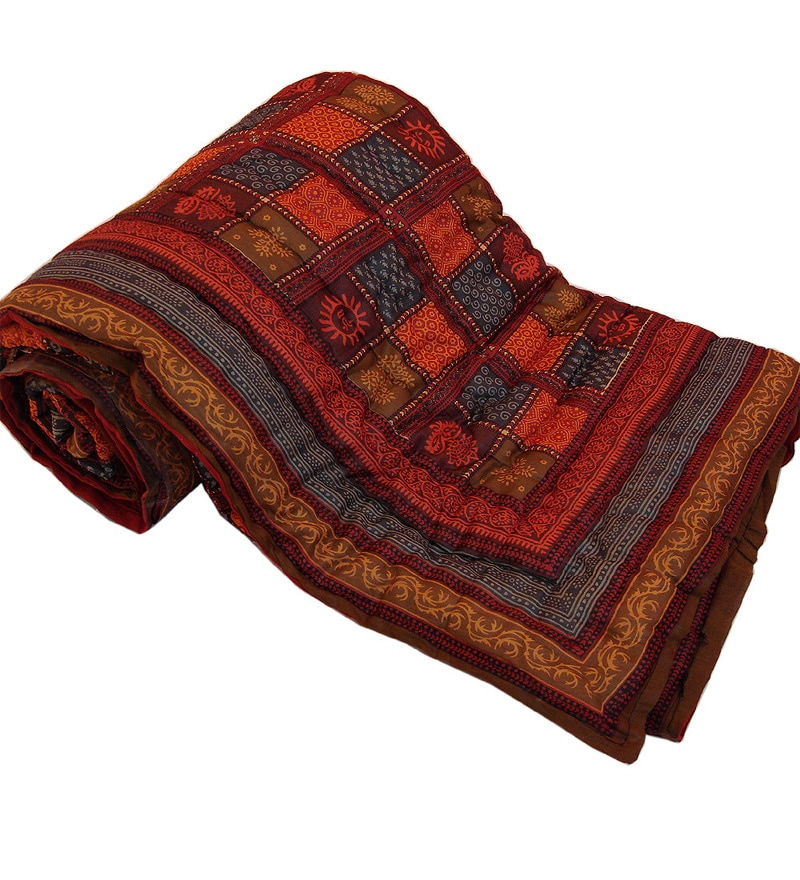 Little India Reds Indian Ethnic Cotton Queen Size Quilt 1 Pc