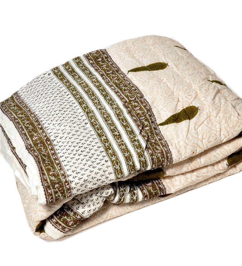 Off White Indian Ethnic Cotton Single Size Quilt 1 Pc by Little India