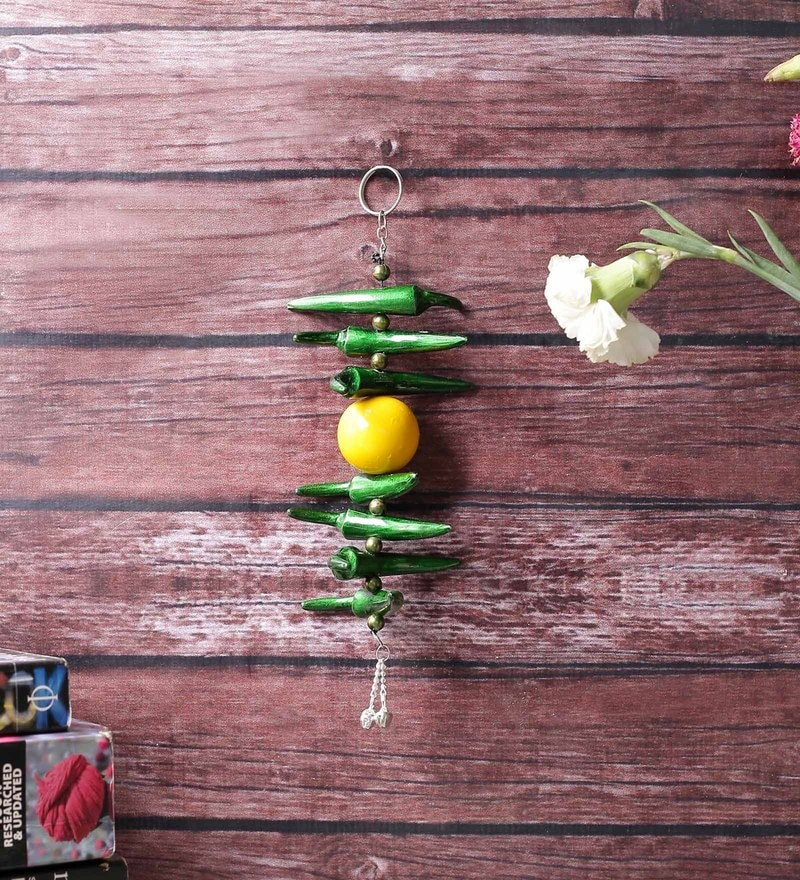 Silver Metal Lemon Green Chilly Wall Hanging by Little India