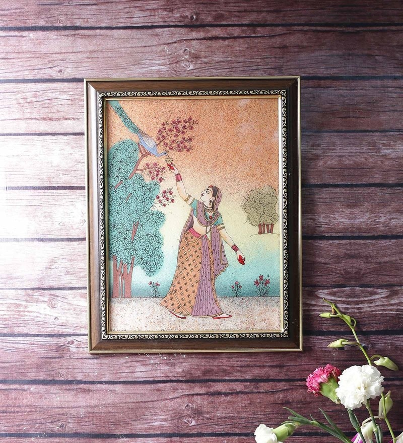 Wooden 9 x 0.5 x 13 Inch Lady Feeding Peacock Ethnic Gemstone Framed Painting by Little India
