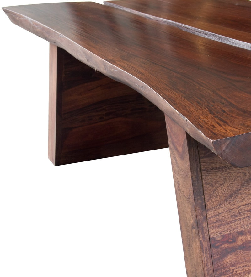Live Edge Coffee Table Online: Buy Live EDGE Coffee Table In Dark Brown Finish By