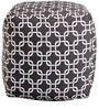 Links Printed Cotton Pouffe in Black & White Colour by Purplewood