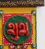 Little India Multicolour Wooden Crafted Unique Shubh Labh Door Hanging - Set of 2