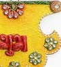 Multicolour Wooden Kundan Work Fan Shape Shubh Labh Door Hanging - Set of 2 by Little India