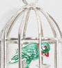 Silver Brass Decorative Parrot N Cage Showpiece by Little India