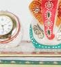 White Marble Meenakari Ganesha Table Clock with Chowki by Little India