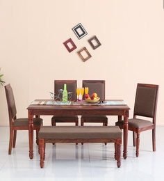 Louis Six Seater Dining Set With Bench In Honey Oak Finish