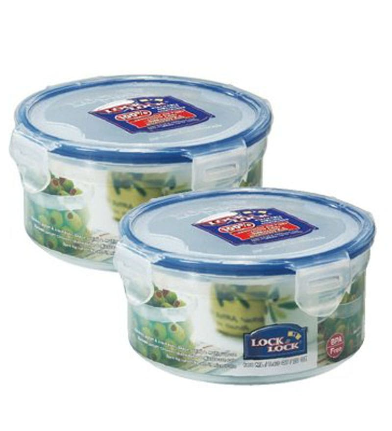 Lock&Lock Transparent Plastic 600 Ml Storage Container - Set of 2