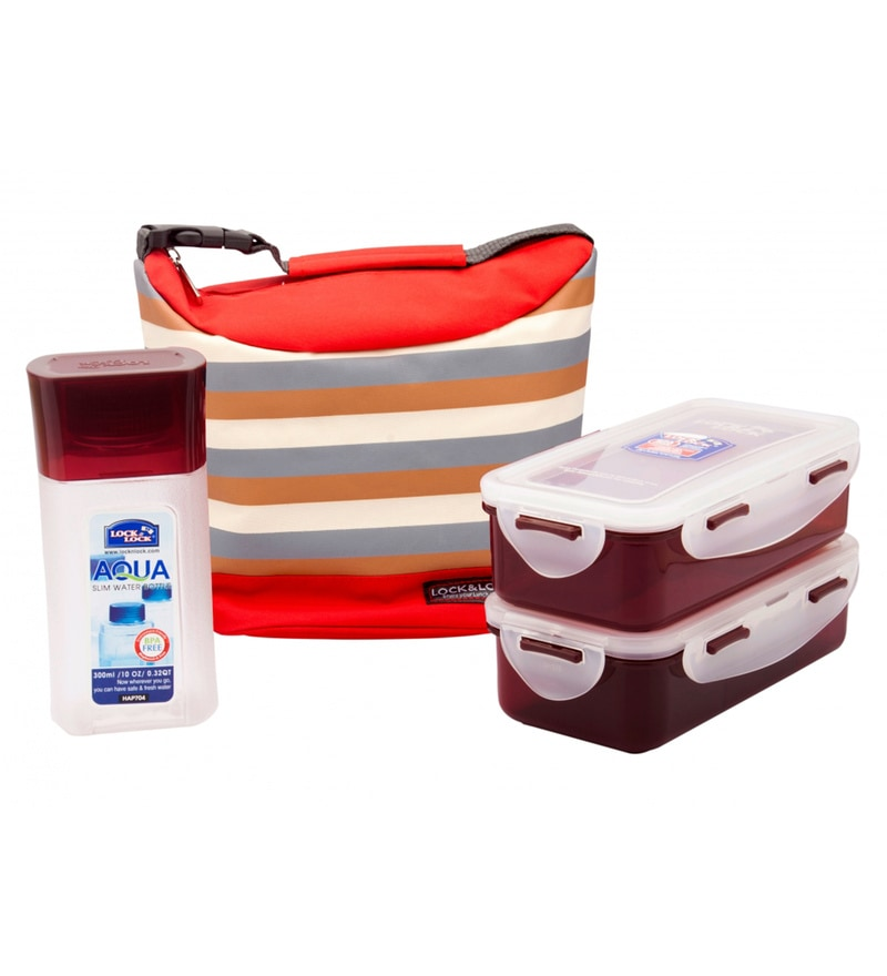 Lock&Lock Red Polypropylene Lunch Box Set With Stripes Bag