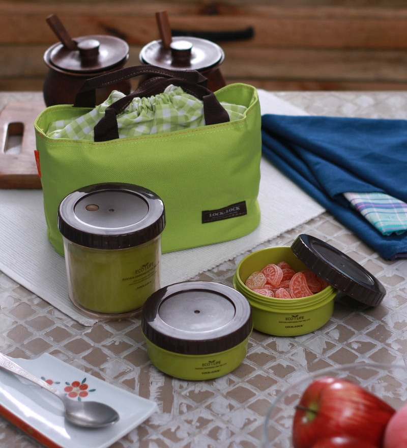 Lock&Lock Bento Multi Round Lunch Box Set With 3 Containers & Big Bag - Green