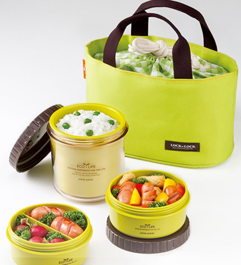 buy lock lock bento multi round lunch box set with 3 containers big bag green online lunch. Black Bedroom Furniture Sets. Home Design Ideas