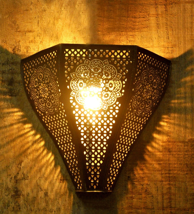 Vintage Moroccan Uplighter Black & Golden Iron Upward Wall Lamp by Logam