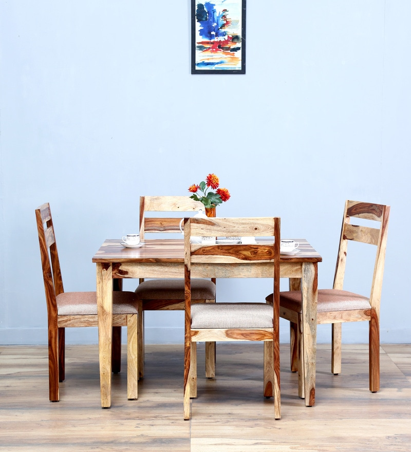 Lomira Four Seater Dining Set in Natural Sheesham Finish by Woodsworth