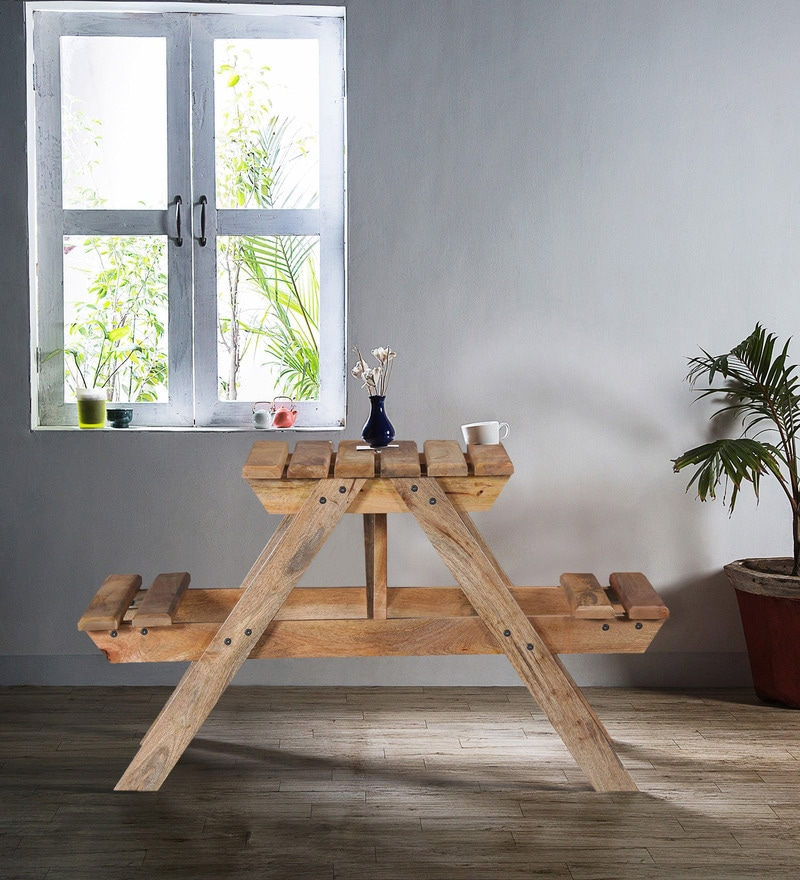 Lomira Two Seater Picnic Table in Natural Mango Wood Finish by Bohemiana