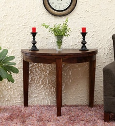 Lunar Solid Wood Foldable Console Dining Table In Provincial Teak Finish