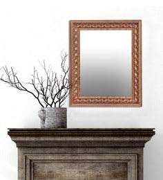 Lurid Engraved Rectangular Wall Mirror In Gold Finish