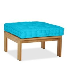 Lushomes Blue Cotton 16 X 16 X 1.5 Inch Box Cushion With 5 Knots & A Handle For Convenience - 1597857