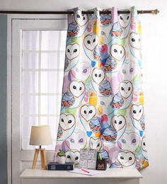 Multicolour Polyester 60 X 54 Inch Digitally Printed Owl Blackout Windows Curtain - Set Of 2