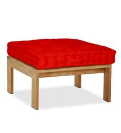 Lushomes Red Cotton 16 X 16 X 1.5 Inch Box Cushion With 5 Knots & A Handle For Convenience