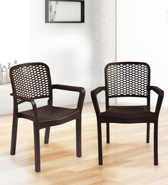 Luxury Plastic Chair (Set Of 2) In Brown Colour - 1645423