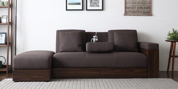 Luana Storage Sofa Bed With Ottoman In Dark Brown Color