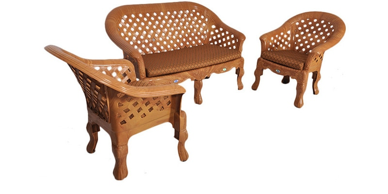 Buy Luxura Plastic Sofa Set In Pear Wood Colour With Camel