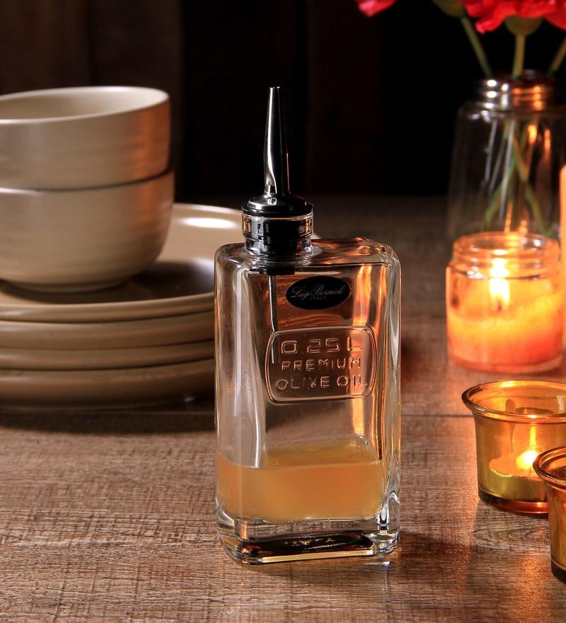 Luigi Bormioli Optima Rectangle 250 ML Olive Oil Bottle with Pourer Stopper