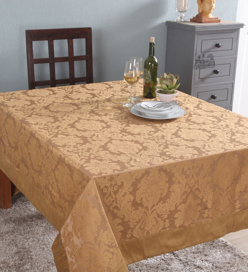 Lushomes 6 Seater Beige Jacquard Table Cloth with High Quality Border