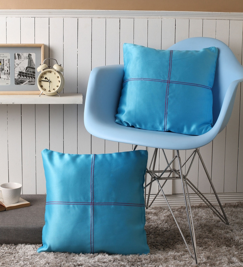 Blue Blackout Polyester 16 x 16 Inch Cushion Cover with Artistic Stitch - Set of 2 by Lushomes