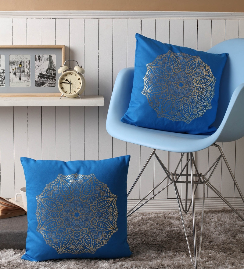 Blue Cotton 16 x 16 Inch Cushion Covers with Gold Foil Print - Set of 2 by Lushomes