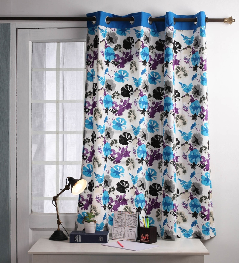 Lushomes Blue Cotton 60 x 54 Inch Watercolour Printed Windows Curtain with 8 Eyelets & Plain Tiebacks  -1 Piece