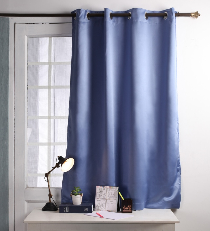 Lushomes Blue Polyester 54 x 60 Inch Plain Blackout Windows Curtain with 8 Metal Eyelets  -1 Piece
