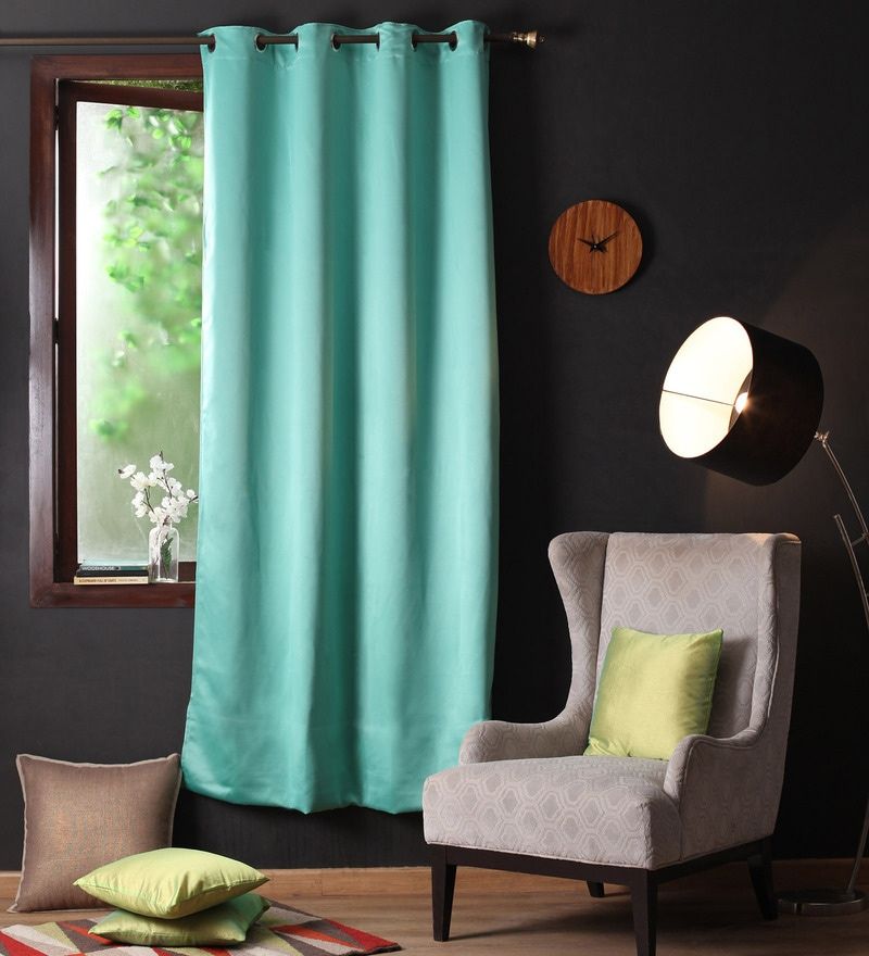 Blue Polyester 90 x 54 Inch Plain Blackout Door Curtain with 8 Metal Eyelets -1 Piece by Lushomes