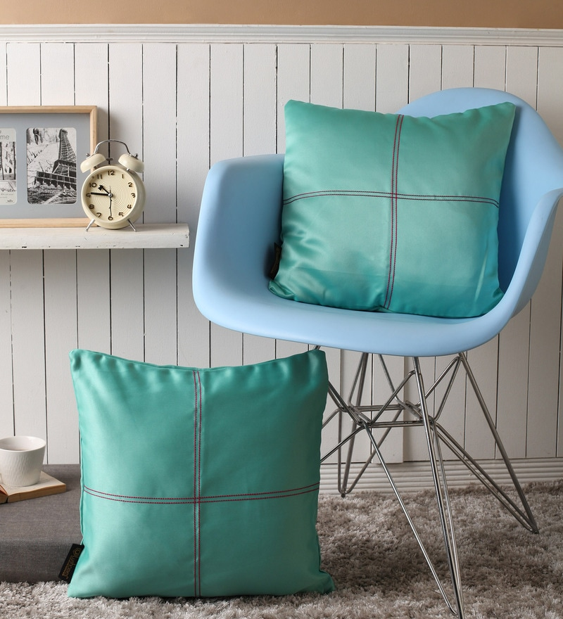 Blue Stone Blackout Polyester 16 x 16 Inch Cushion Cover with Artistic Stitch - Set of 2 by Lushomes