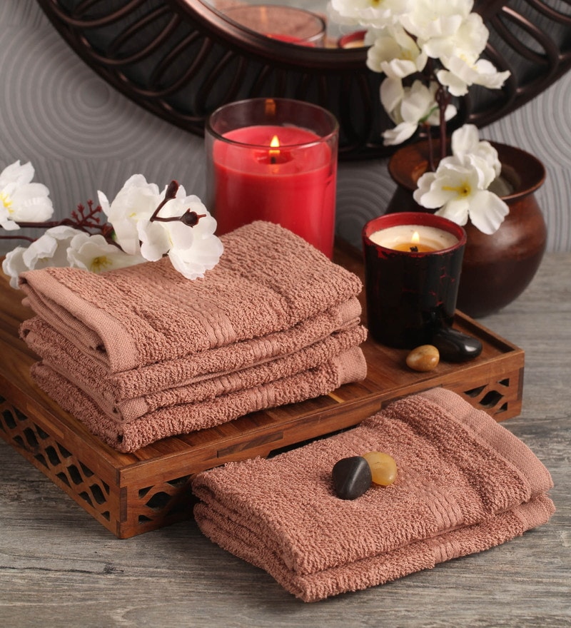 Lushomes Brown Cotton 12 x 12 Face Towel - Set of 6