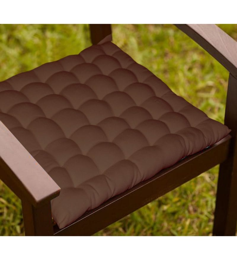 Brown Cotton 16 x 16 Inch Chair Cushion with 36 Knots & 4 Tie Backs by Lushomes