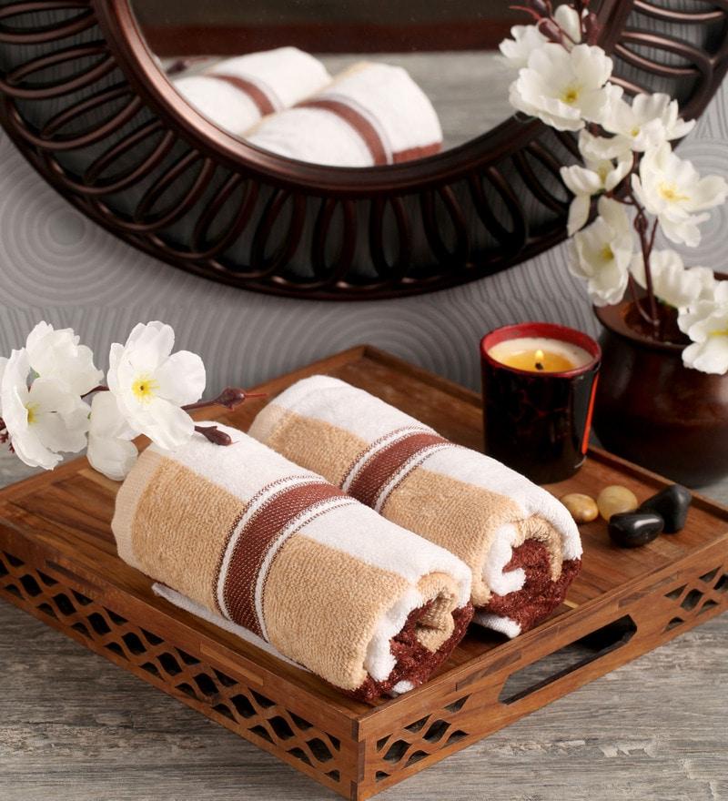Lushomes Brown Cotton 16 x 24 Hand Towel - Set of 2