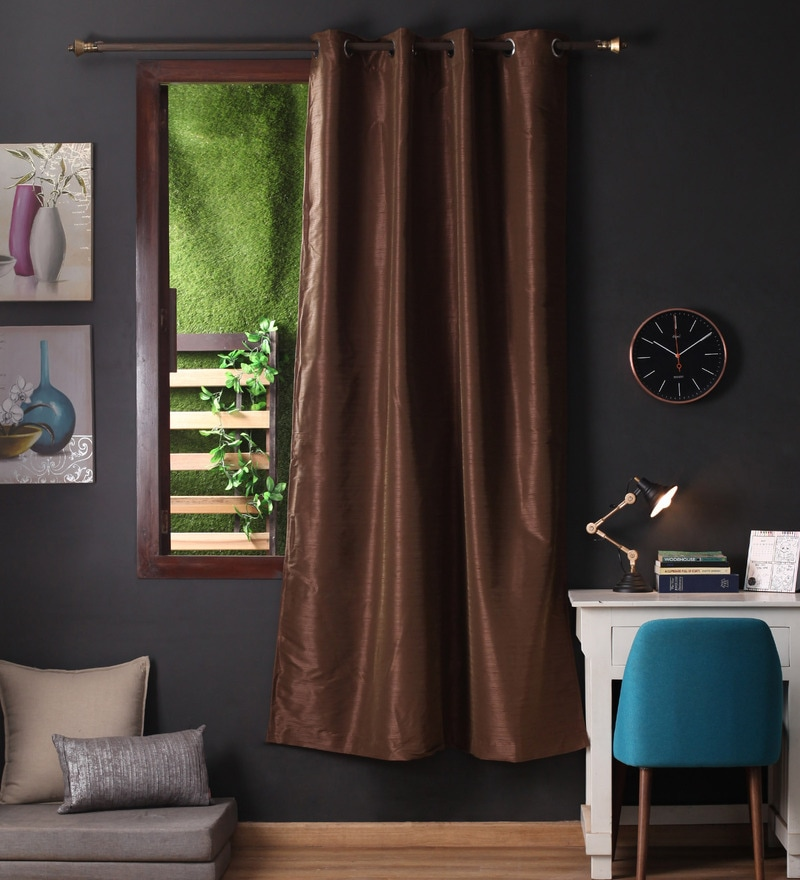 Lushomes Brown Polyester 90 x 54 Inch Twinkle Star 8 Eyelets Door Curtain with Blackout Lining  -1 Piece