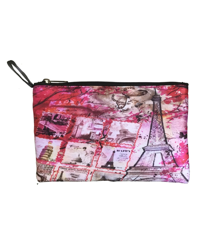 Lushomes Eiffel Tower Digital Printed Polyester Multicolour Multi Utility Pouch