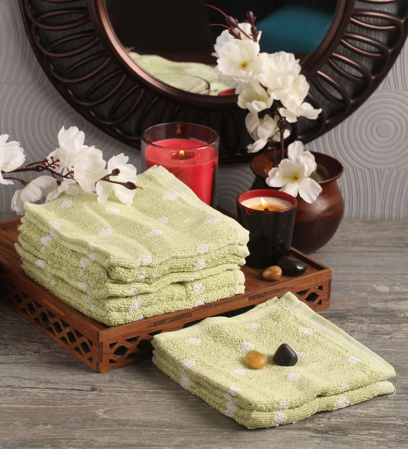 Lushomes Green Cotton 12 x 12 Face Towel - Set of 8