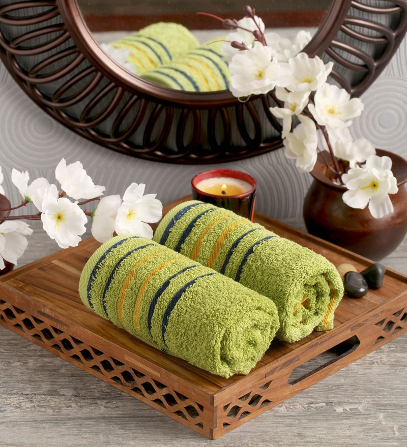 Green Cotton 16 x 24 Hand Towel - Set of 2 by Lushomes