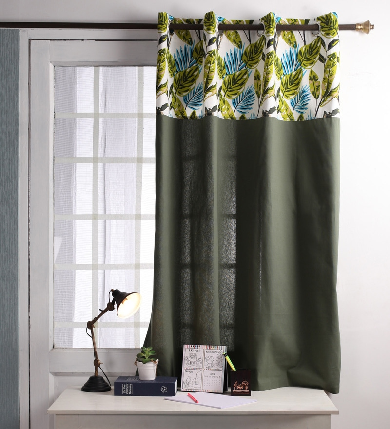 Lushomes Green Cotton 60 x 54 Inch Forest Printed Bloomberry Windows Curtain with 8 Eyelets & Printed Tiebacks  -1 Piece