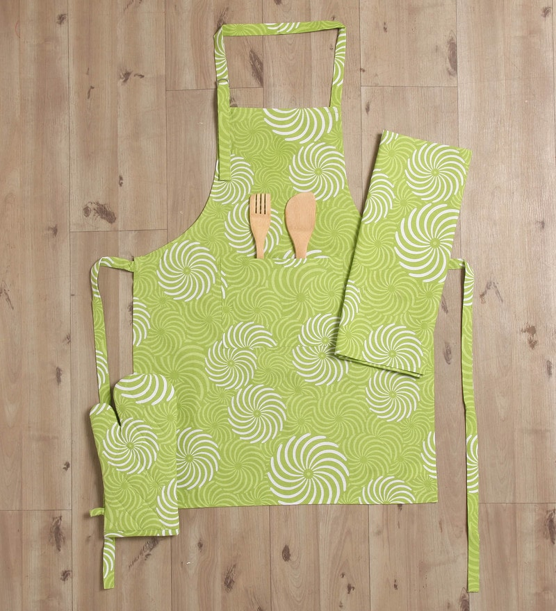 Lushomes Green Cotton Printed Apron with Kitchen Towel & Oven Mitten