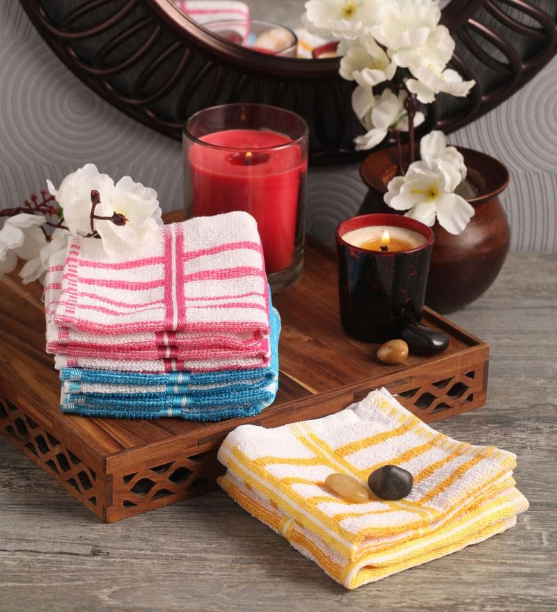 Multicolour Cotton 10 x 10 Face Towel - Set of 20 by Lushomes
