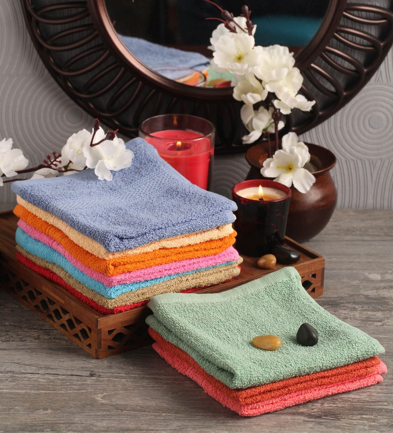 Multicolour Cotton 12 x 12 Face Towel - Set of 10 by Lushomes