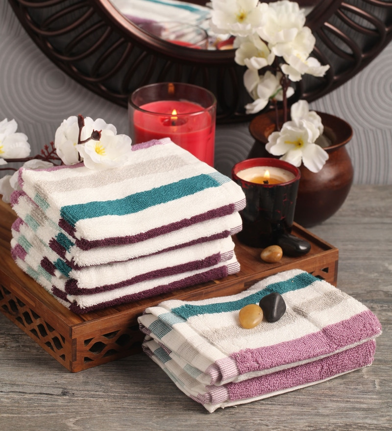 Multicolour Cotton 12 x 12 Face Towel - Set of 6 by Lushomes