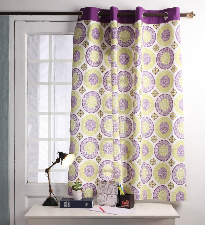 Lushomes Multicolour Cotton 60 x 54 Inch Bold Printed Windows Curtain with 8 Eyelets & Plain Tiebacks  -1 Piece
